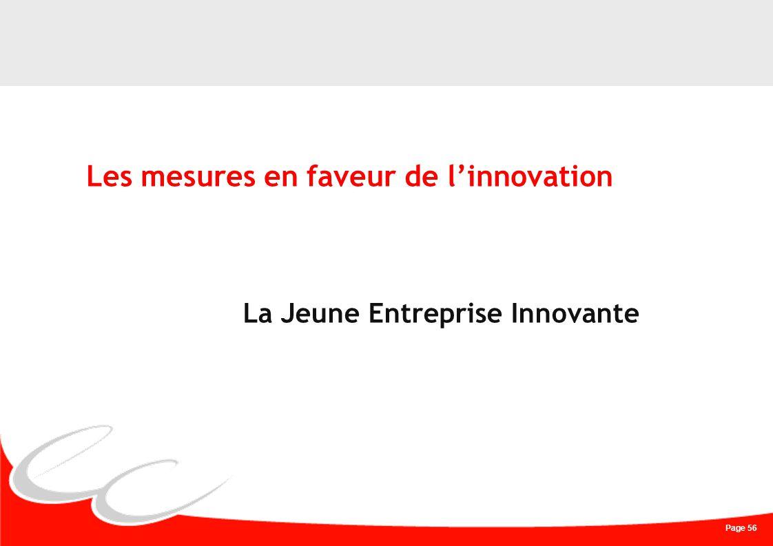 Page 56 Les mesures en faveur de linnovation La Jeune Entreprise Innovante