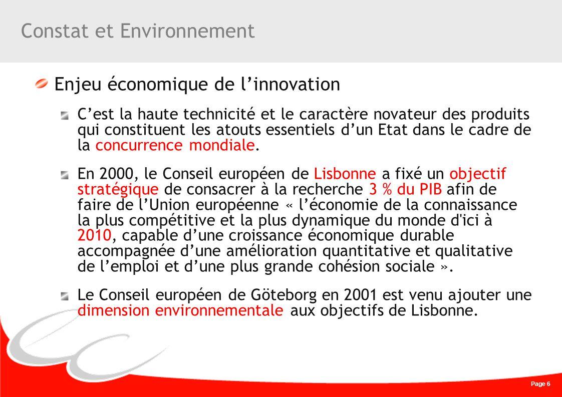 Page 6 Constat et Environnement Enjeu économique de linnovation Cest la haute technicité et le caractère novateur des produits qui constituent les ato