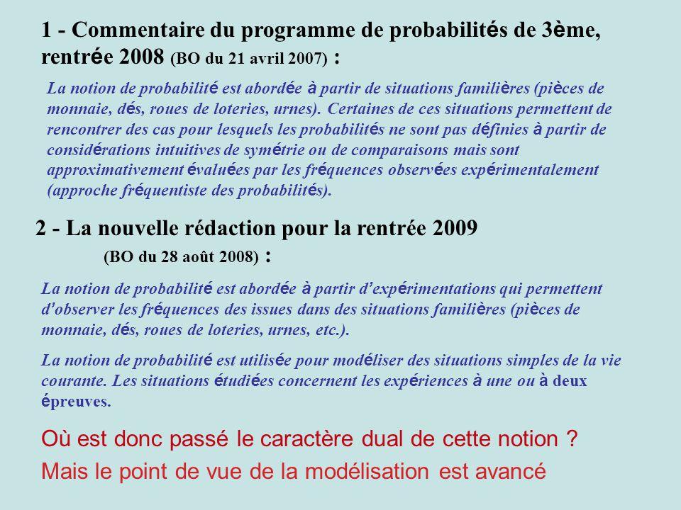 1 - Commentaire du programme de probabilit é s de 3 è me, rentr é e 2008 (BO du 21 avril 2007) : La notion de probabilit é est abord é e à partir de situations famili è res (pi è ces de monnaie, d é s, roues de loteries, urnes).