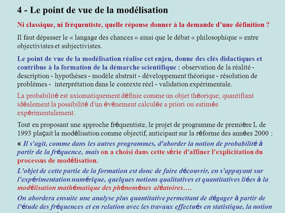 4 - Le point de vue de la modélisation Ni classique, ni fréquentiste, quelle réponse donner à la demande dune définition .
