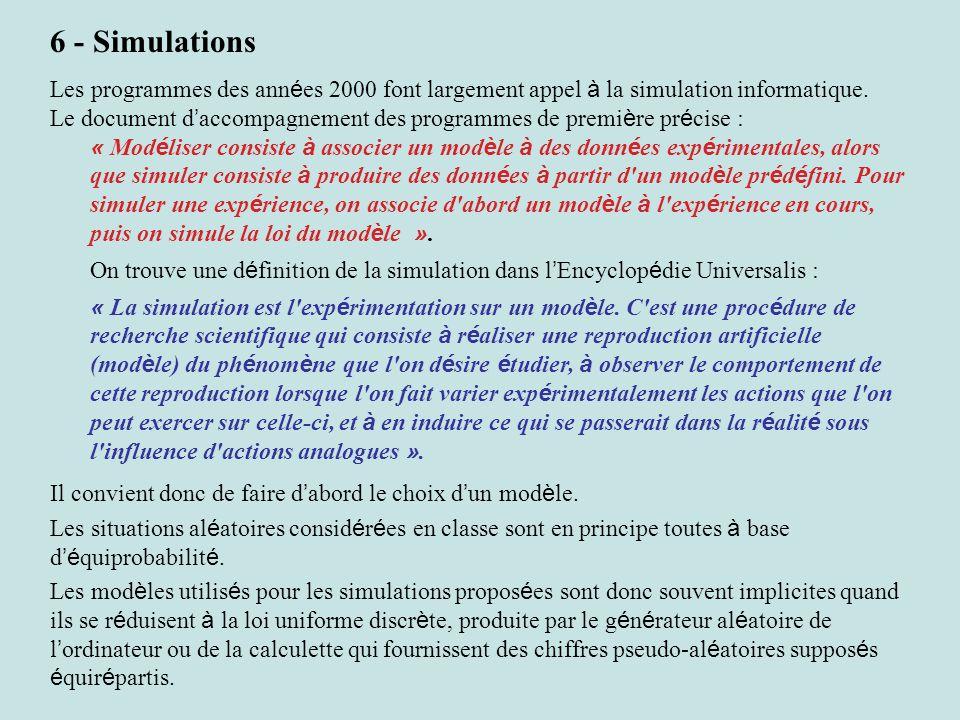 6 - Simulations Les programmes des ann é es 2000 font largement appel à la simulation informatique.