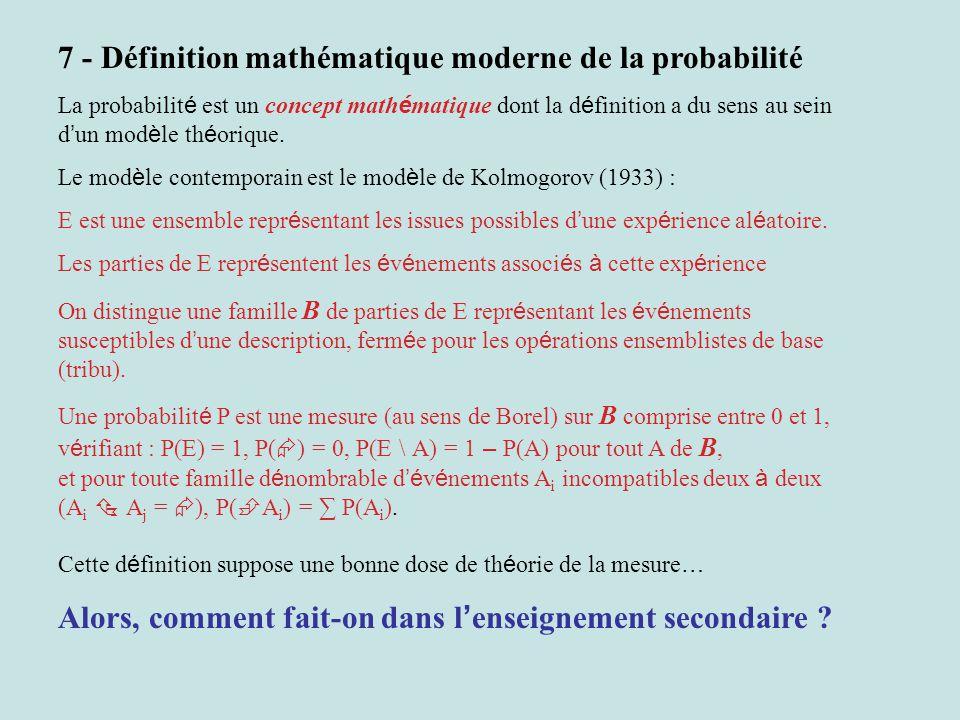 7 - Définition mathématique moderne de la probabilité La probabilit é est un concept math é matique dont la d é finition a du sens au sein d un mod è le th é orique.