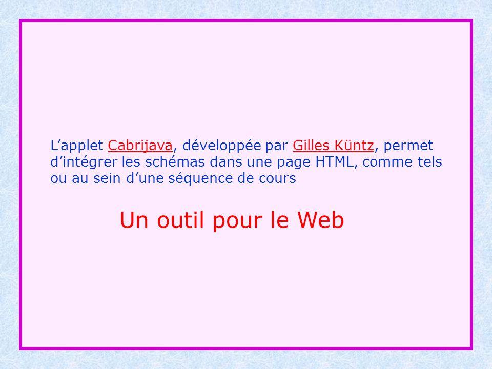 Lapplet Cabrijava, développée par Gilles Küntz, permet dintégrer les schémas dans une page HTML, comme telsCabrijavaGilles Küntz ou au sein dune séque