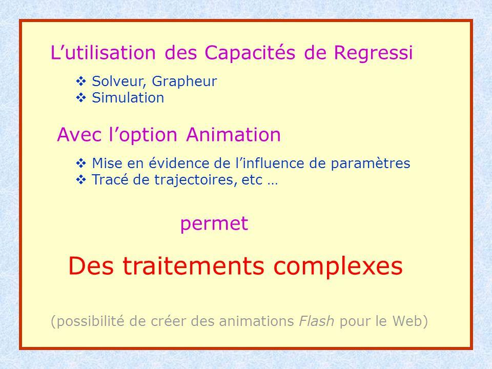 Lutilisation des Capacités de Regressi Solveur, Grapheur Simulation Avec loption Animation Mise en évidence de linfluence de paramètres Tracé de traje