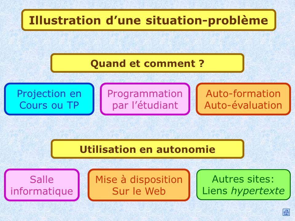 Autres sites: Liens hypertexte Mise à disposition Sur le Web Utilisation en autonomie Salle informatique Utilisations Illustration dune situation-prob