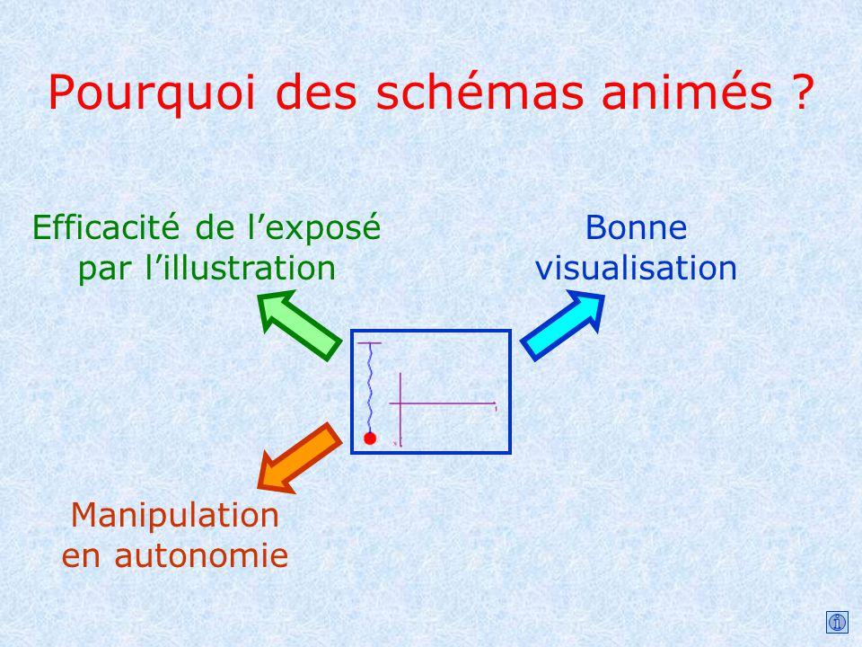 Pourquoi des schémas animés ? Efficacité de lexposé par lillustration Bonne visualisation Manipulation en autonomie