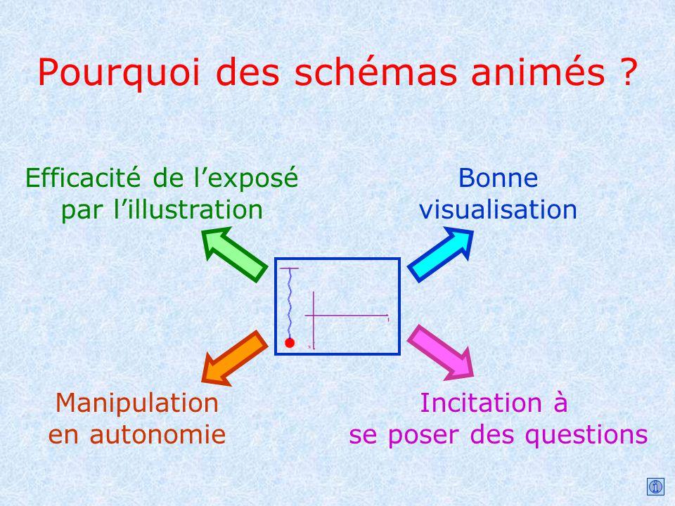 Pourquoi des schémas animés ? Efficacité de lexposé par lillustration Bonne visualisation Manipulation en autonomie Incitation à se poser des question