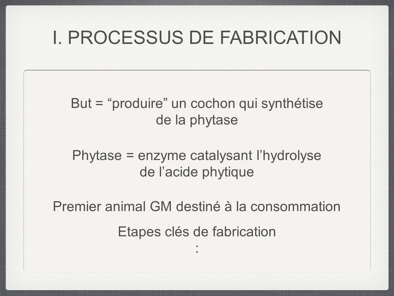 But = produire un cochon qui synthétise de la phytase Phytase = enzyme catalysant lhydrolyse de lacide phytique Etapes clés de fabrication : I. PROCES
