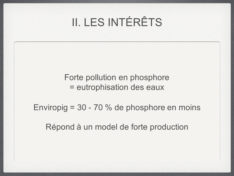Forte pollution en phosphore = eutrophisation des eaux Enviropig = 30 - 70 % de phosphore en moins Répond à un model de forte production II. LES INTÉR