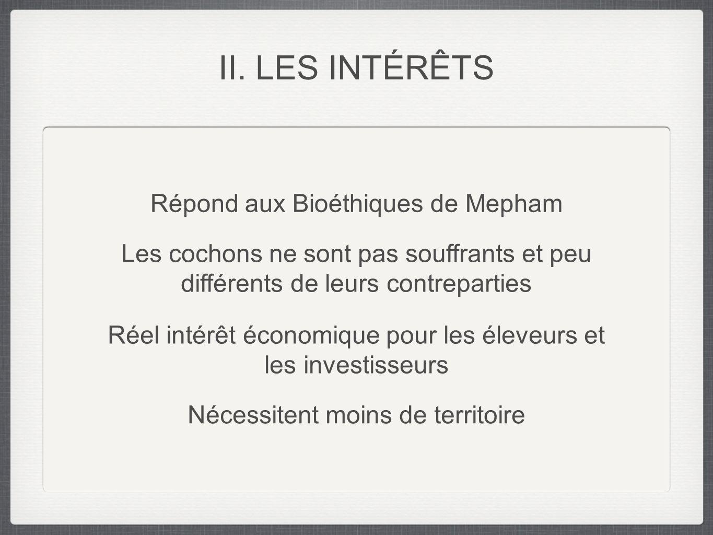Répond aux Bioéthiques de Mepham Les cochons ne sont pas souffrants et peu différents de leurs contreparties Réel intérêt économique pour les éleveurs