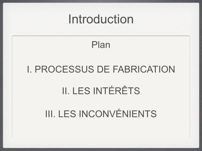 Introduction Plan I. PROCESSUS DE FABRICATION II. LES INTÉRÊTS III. LES INCONVÉNIENTS