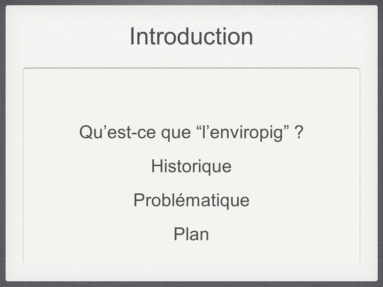 Introduction Historique Quest-ce que lenviropig ? Problématique Plan