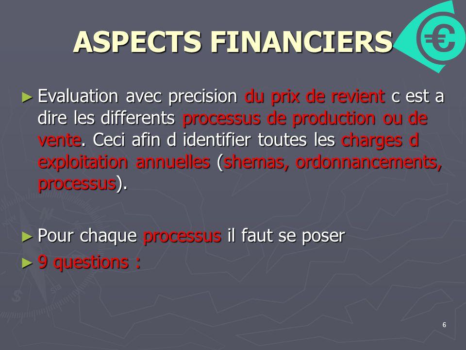 6 ASPECTS FINANCIERS Evaluation avec precision du prix de revient c est a dire les differents processus de production ou de vente.