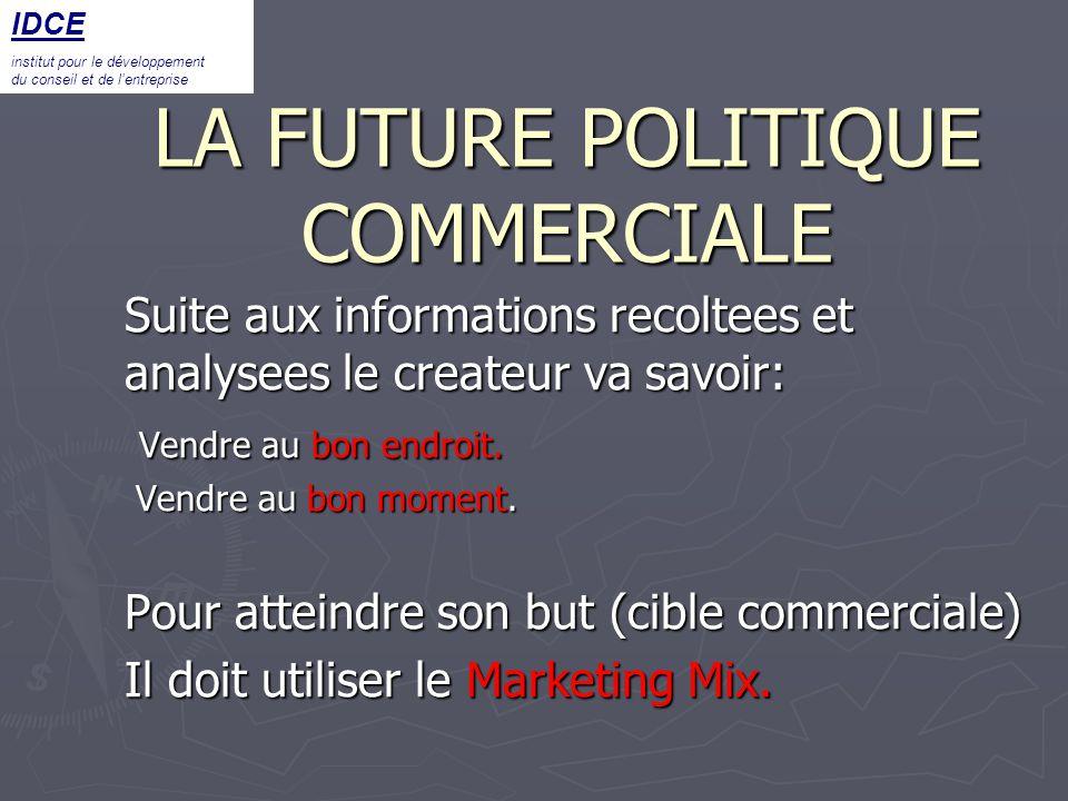 LA FUTURE POLITIQUE COMMERCIALE Suite aux informations recoltees et analysees le createur va savoir: Vendre au bon endroit. Vendre au bon endroit. Ven
