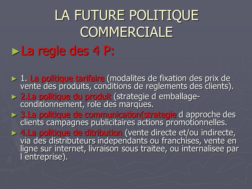 LA FUTURE POLITIQUE COMMERCIALE La regle des 4 P: La regle des 4 P: 1. La politique tarifaire (modalites de fixation des prix de vente des produits, c
