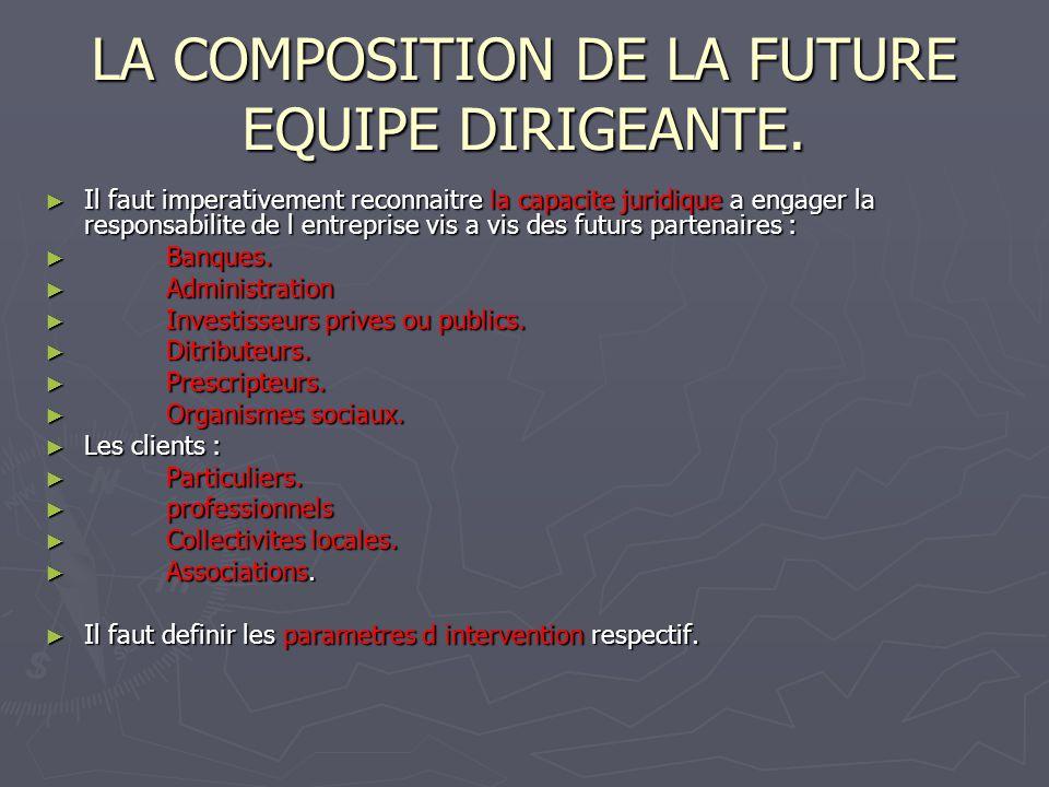 LA COMPOSITION DE LA FUTURE EQUIPE DIRIGEANTE. Il faut imperativement reconnaitre la capacite juridique a engager la responsabilite de l entreprise vi