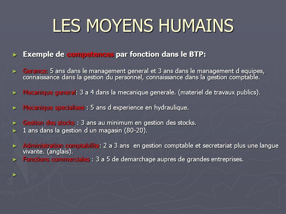 LES MOYENS HUMAINS Exemple de competences par fonction dans le BTP: Exemple de competences par fonction dans le BTP: Gerance: 5 ans dans le management