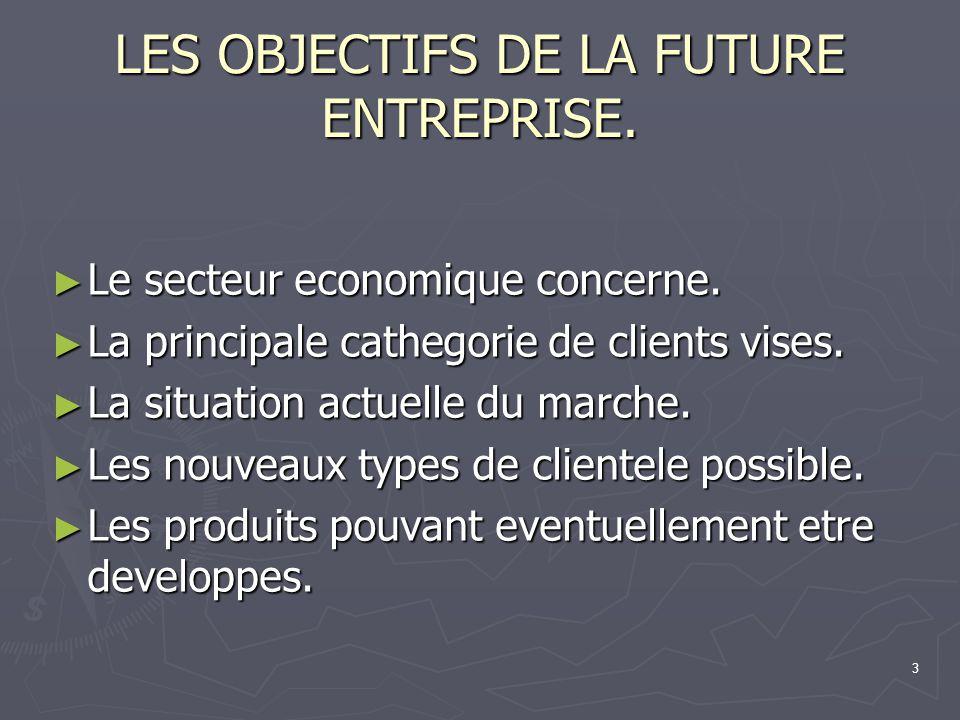 3 LES OBJECTIFS DE LA FUTURE ENTREPRISE. Le secteur economique concerne. Le secteur economique concerne. La principale cathegorie de clients vises. La