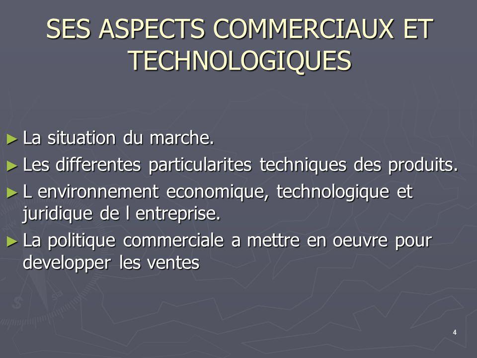 4 SES ASPECTS COMMERCIAUX ET TECHNOLOGIQUES La situation du marche. La situation du marche. Les differentes particularites techniques des produits. Le