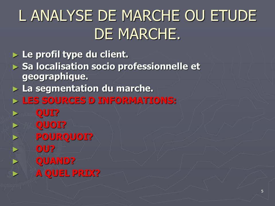 5 L ANALYSE DE MARCHE OU ETUDE DE MARCHE. Le profil type du client. Le profil type du client. Sa localisation socio professionnelle et geographique. S