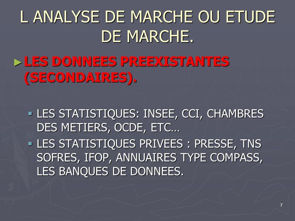 7 L ANALYSE DE MARCHE OU ETUDE DE MARCHE. LES DONNEES PREEXISTANTES (SECONDAIRES). LES DONNEES PREEXISTANTES (SECONDAIRES). LES STATISTIQUES: INSEE, C
