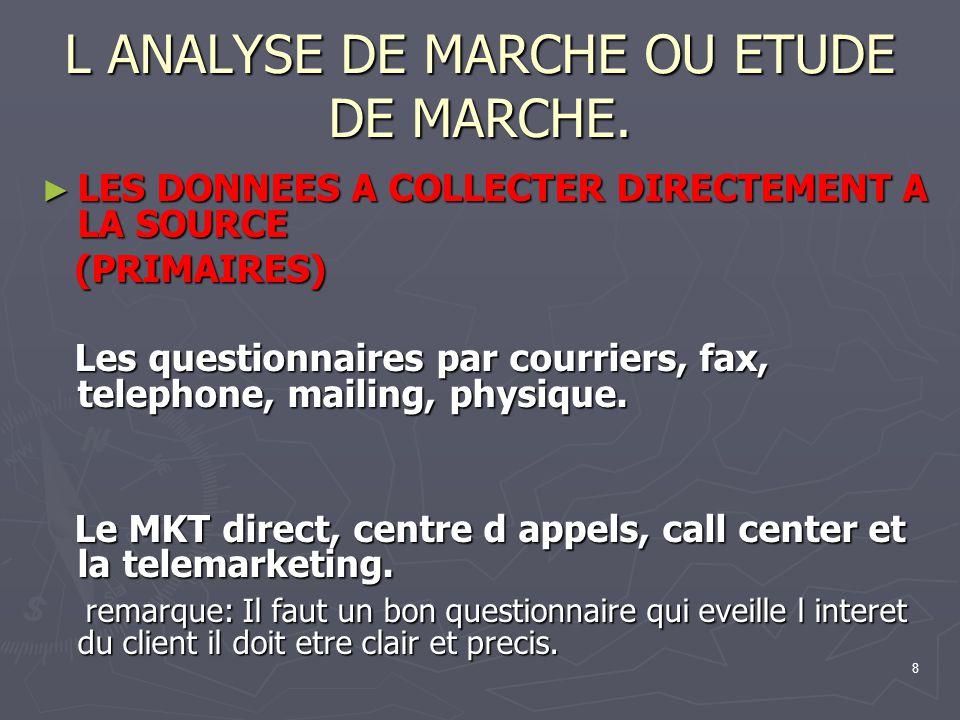8 L ANALYSE DE MARCHE OU ETUDE DE MARCHE. LES DONNEES A COLLECTER DIRECTEMENT A LA SOURCE LES DONNEES A COLLECTER DIRECTEMENT A LA SOURCE (PRIMAIRES)