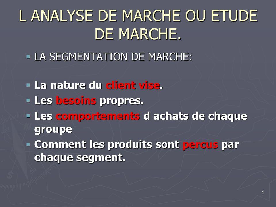 9 L ANALYSE DE MARCHE OU ETUDE DE MARCHE. LA SEGMENTATION DE MARCHE: LA SEGMENTATION DE MARCHE: La nature du client vise. La nature du client vise. Le