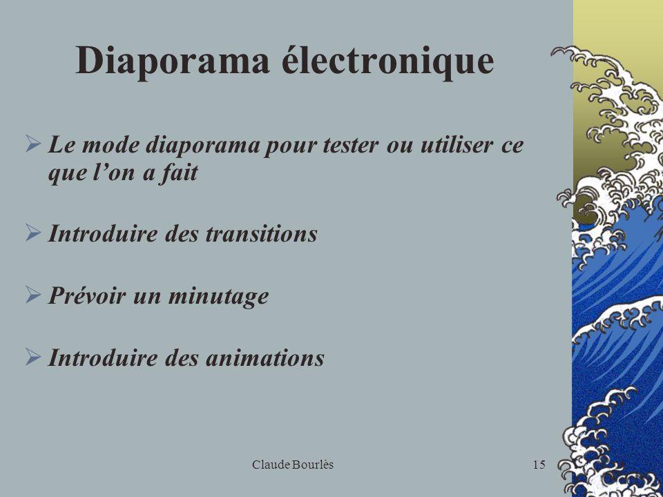 Claude Bourlès14 Insertions Insertion déléments : Images de la bibliothèque Graphiques et organigrammes Eléments dautres documents