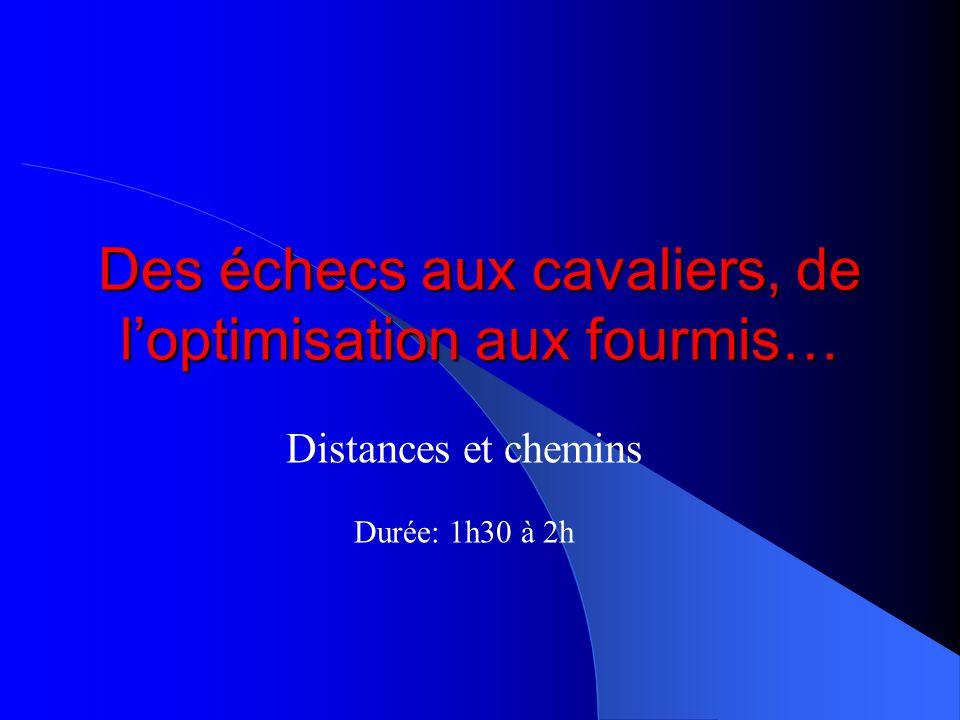 Des échecs aux cavaliers, de loptimisation aux fourmis… Distances et chemins Durée: 1h30 à 2h