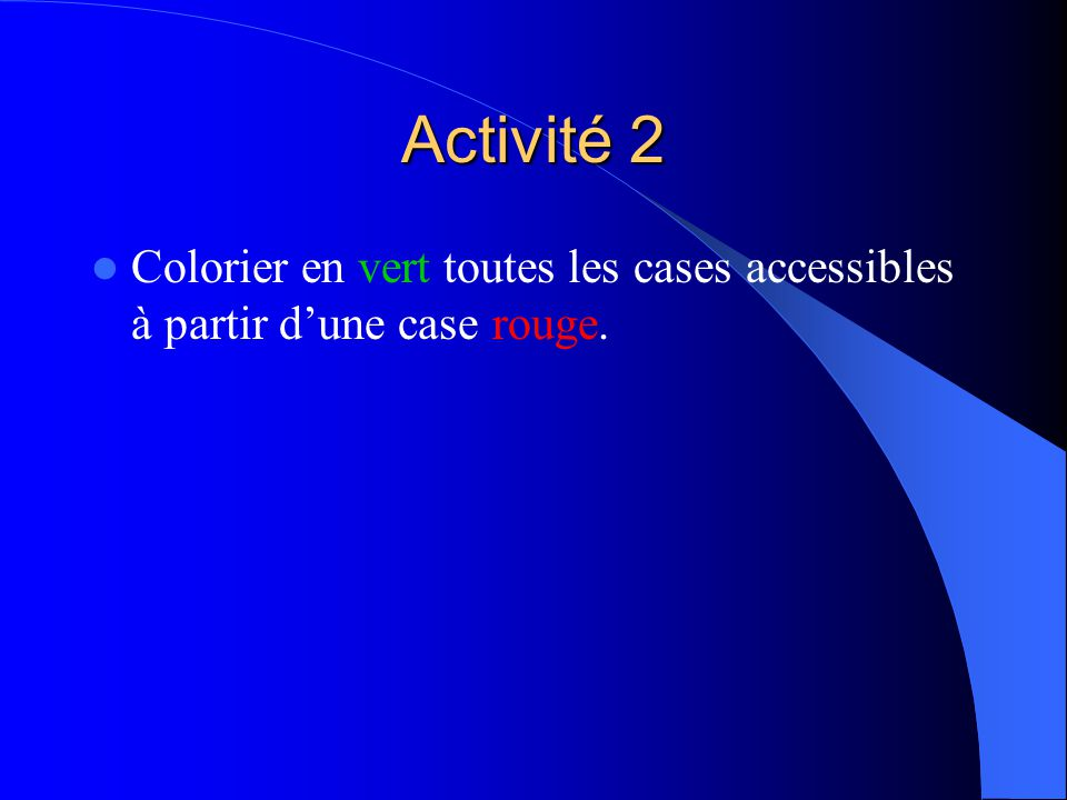 Activité 2 Colorier en vert toutes les cases accessibles à partir dune case rouge.