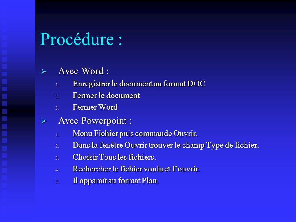 DOC vers PPT Les titres de rang 1 sont utilisés par Powerpoint pour séparer les diapos. En d'autres termes, toutes les fois que l'on a un titre de ran