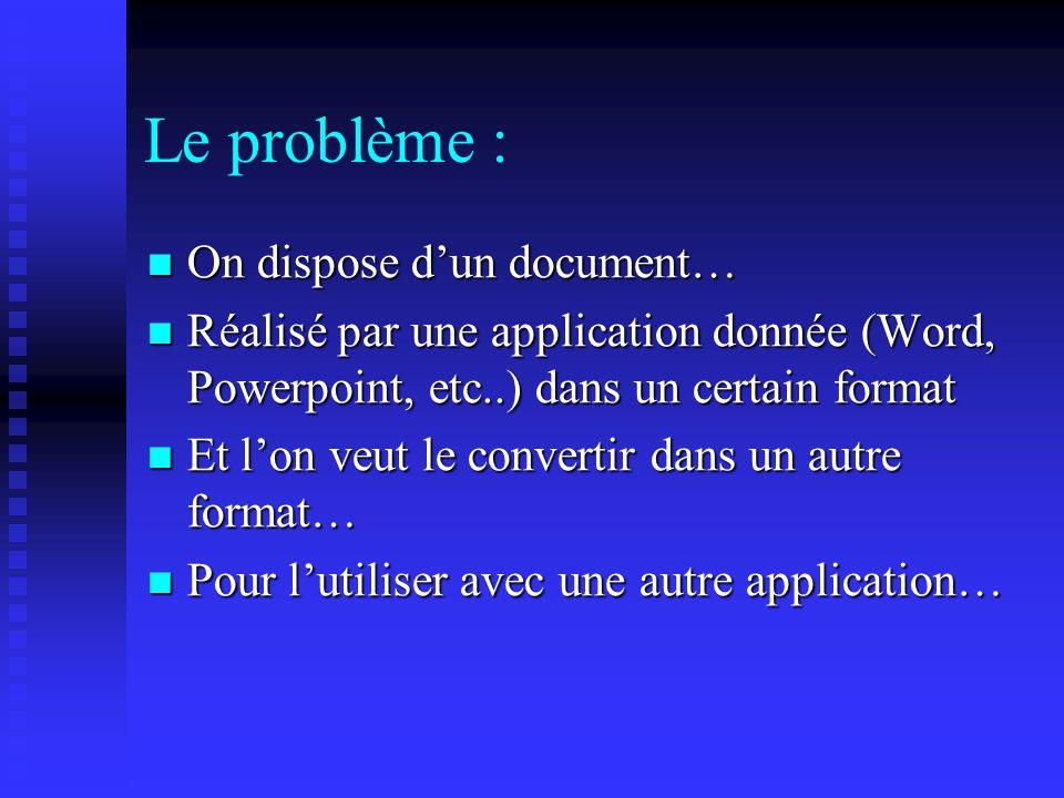 Conversion de fichiers Dune application Microsoft Office vers une autre