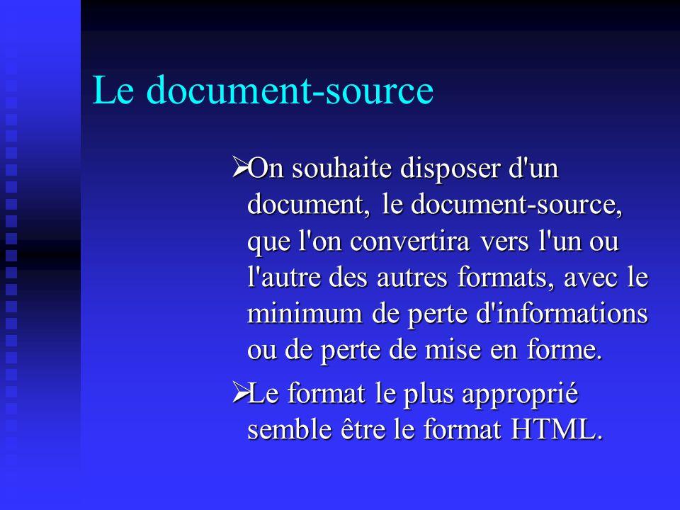Le document-source On souhaite disposer d un document, le document-source, que l on convertira vers l un ou l autre des autres formats, avec le minimum de perte d informations ou de perte de mise en forme.