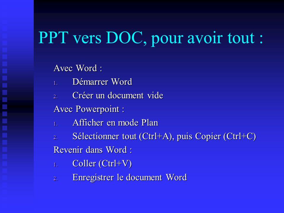 PPT vers DOC, pour avoir tout : Avec Word : 1.Démarrer Word 2.