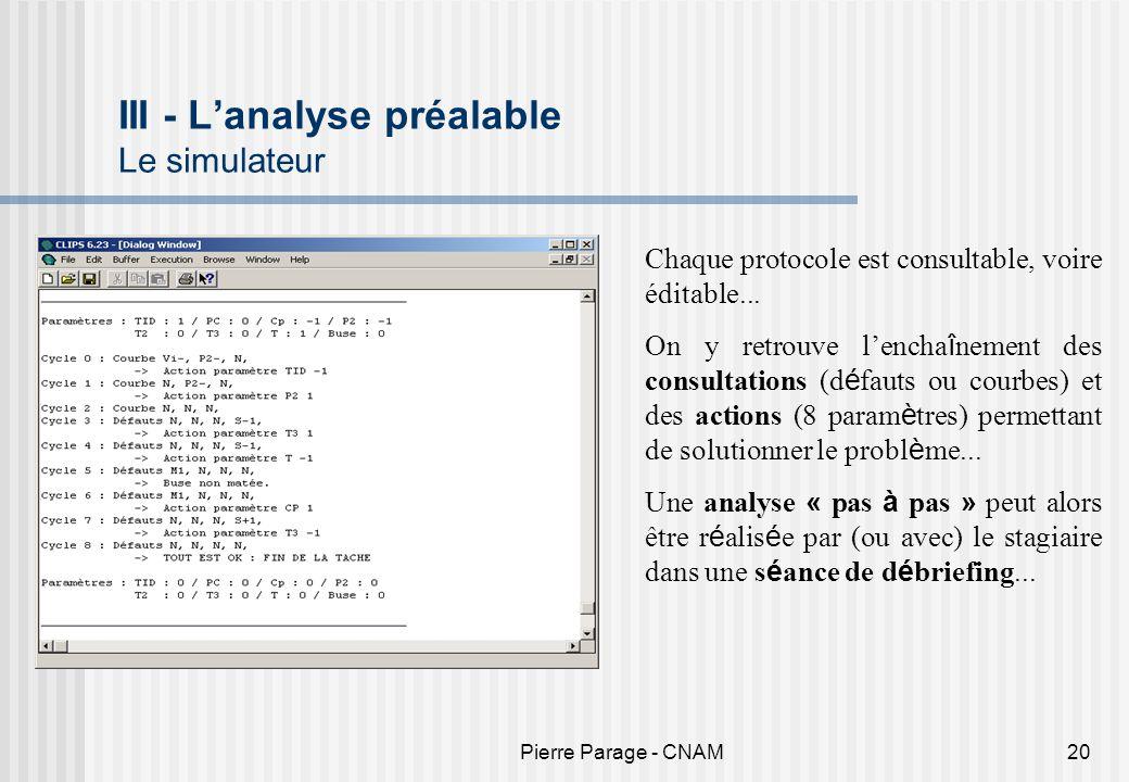 Pierre Parage - CNAM20 III - Lanalyse préalable Le simulateur Chaque protocole est consultable, voire éditable... On y retrouve lencha î nement des co