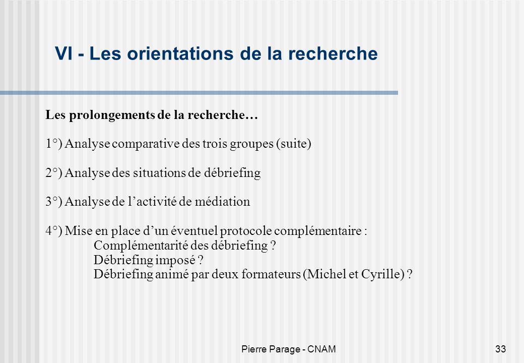 Pierre Parage - CNAM33 VI - Les orientations de la recherche Les prolongements de la recherche… 1°) Analyse comparative des trois groupes (suite) 2°)