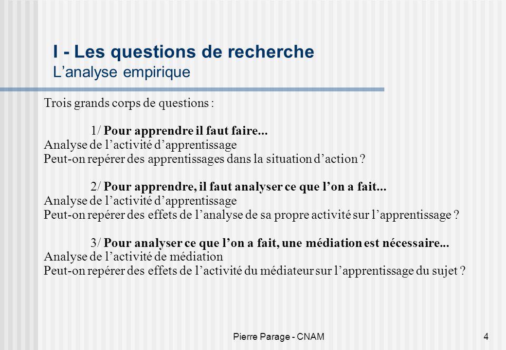 Pierre Parage - CNAM4 I - Les questions de recherche Lanalyse empirique Trois grands corps de questions : 1/ Pour apprendre il faut faire... Analyse d
