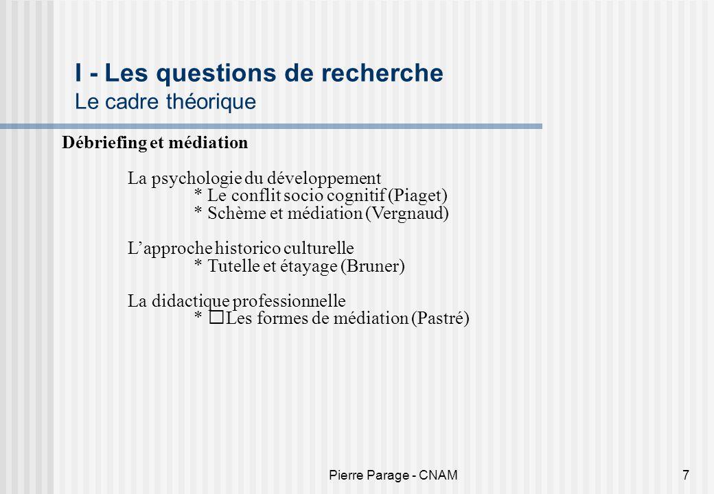 Pierre Parage - CNAM7 I - Les questions de recherche Le cadre théorique Débriefing et médiation La psychologie du développement * Le conflit socio cog
