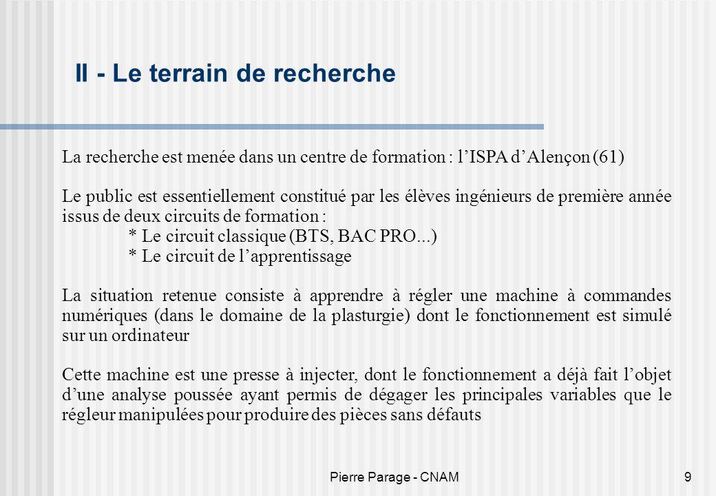 Pierre Parage - CNAM9 II - Le terrain de recherche La recherche est menée dans un centre de formation : lISPA dAlençon (61) Le public est essentiellem