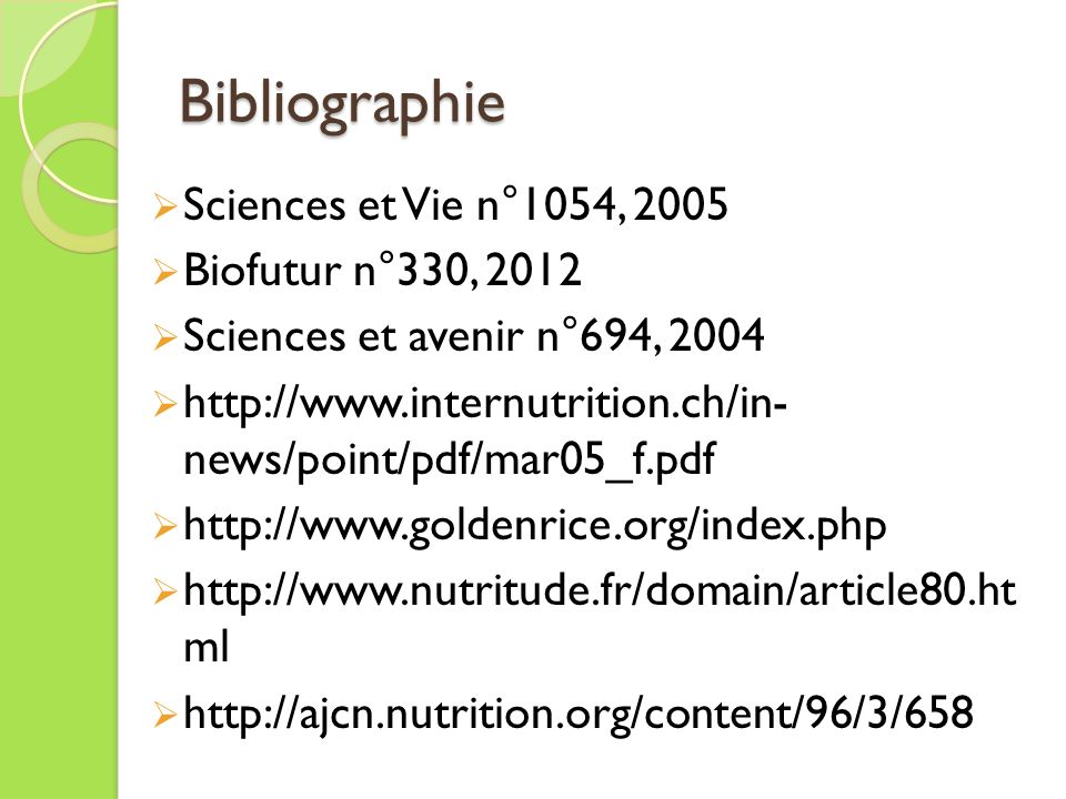 Bibliographie Sciences et Vie n°1054, 2005 Biofutur n°330, 2012 Sciences et avenir n°694, 2004 http://www.internutrition.ch/in- news/point/pdf/mar05_f