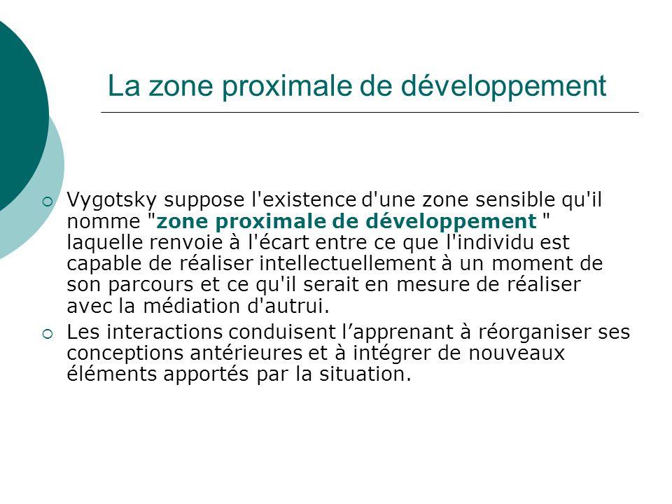 La zone proximale de développement Vygotsky suppose l'existence d'une zone sensible qu'il nomme