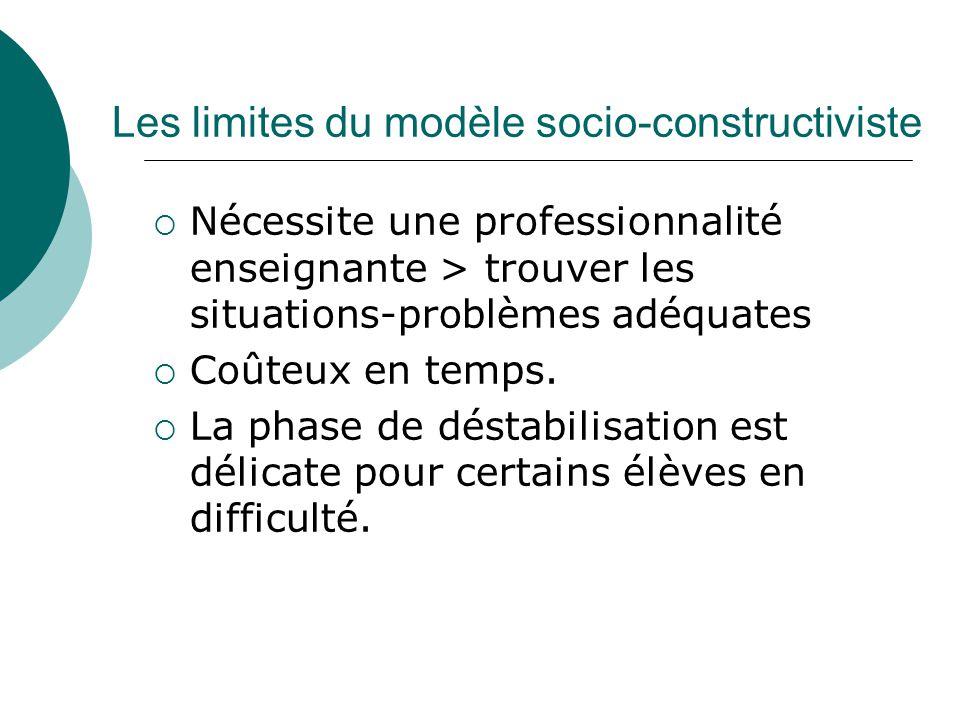 Les limites du modèle socio-constructiviste Nécessite une professionnalité enseignante > trouver les situations-problèmes adéquates Coûteux en temps.