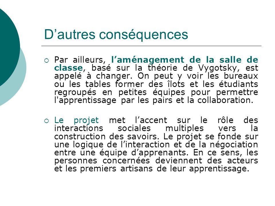 Dautres conséquences Par ailleurs, laménagement de la salle de classe, basé sur la théorie de Vygotsky, est appelé à changer. On peut y voir les burea