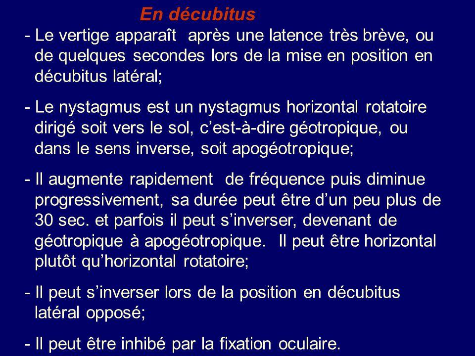 En décubitus - Le vertige apparaît après une latence très brève, ou de quelques secondes lors de la mise en position en décubitus latéral; - Le nystag