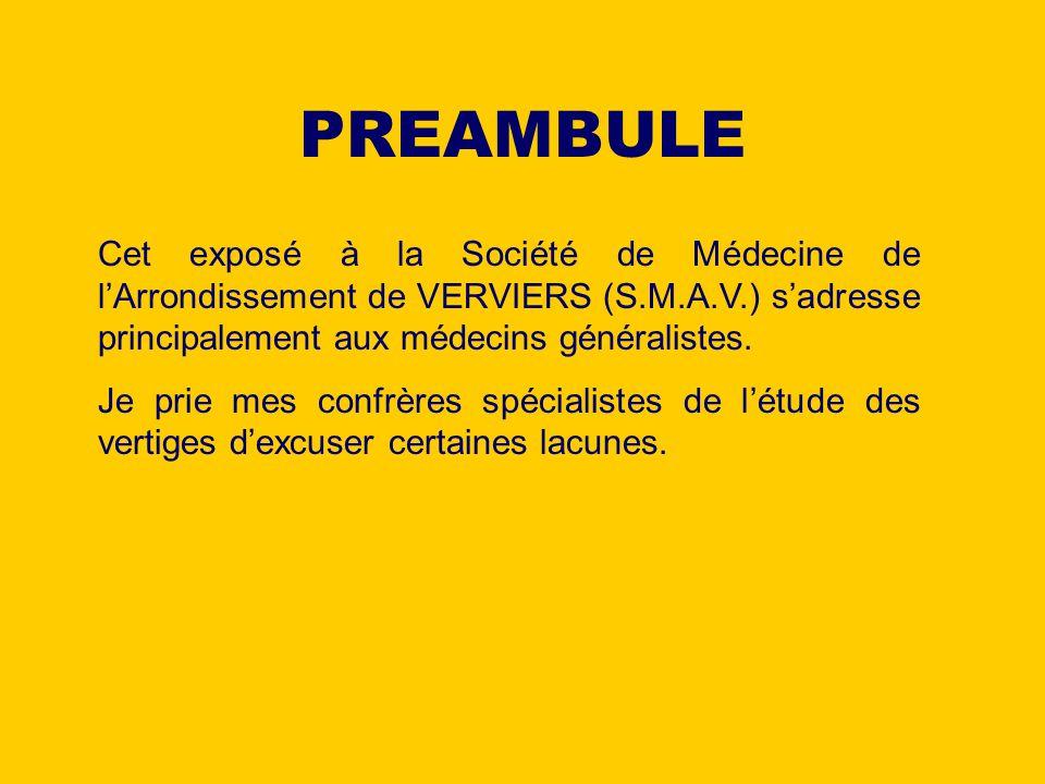 PREAMBULE Cet exposé à la Société de Médecine de lArrondissement de VERVIERS (S.M.A.V.) sadresse principalement aux médecins généralistes. Je prie mes