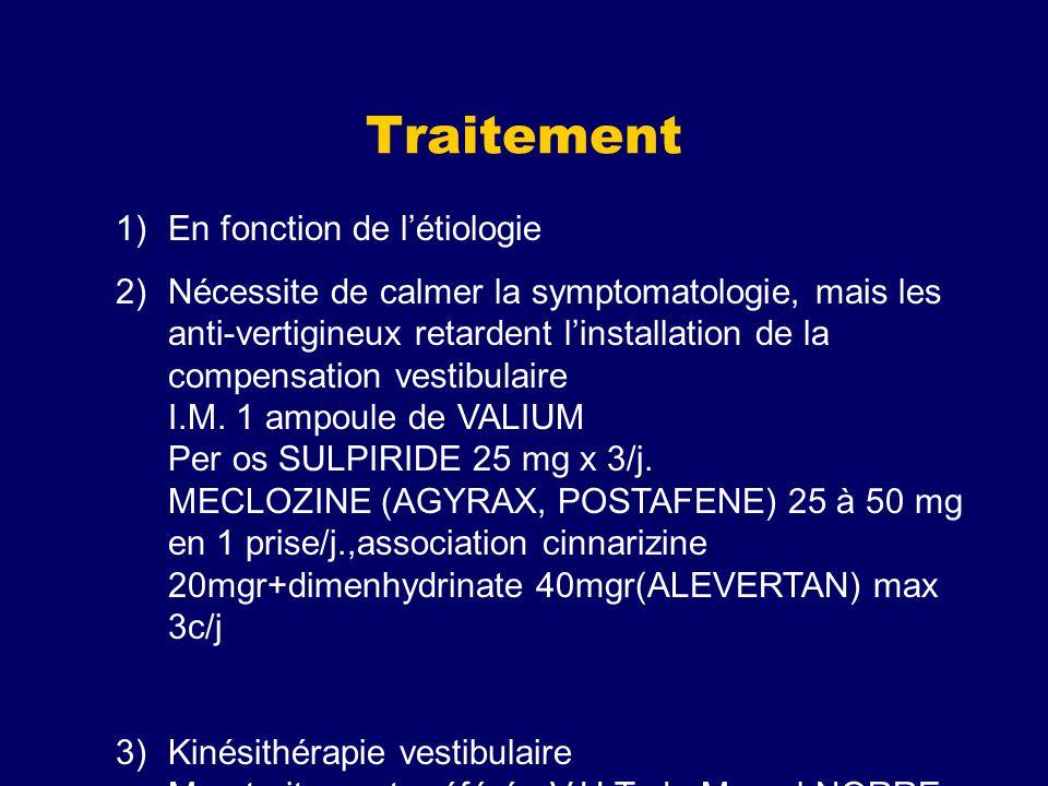 Traitement 1)En fonction de létiologie 2)Nécessite de calmer la symptomatologie, mais les anti-vertigineux retardent linstallation de la compensation