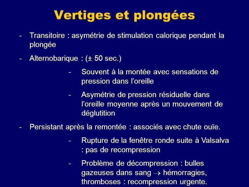 Vertiges et plongées -Transitoire : asymétrie de stimulation calorique pendant la plongée -Alternobarique : (± 50 sec.) -Souvent à la montée avec sens