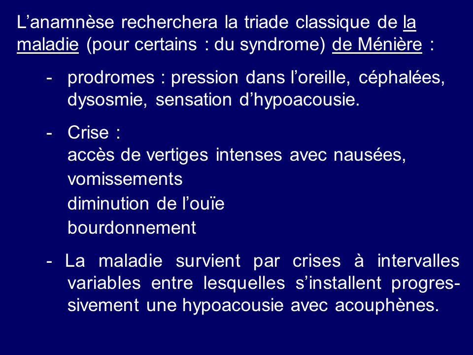 Lanamnèse recherchera la triade classique de la maladie (pour certains : du syndrome) de Ménière : -prodromes : pression dans loreille, céphalées, dys