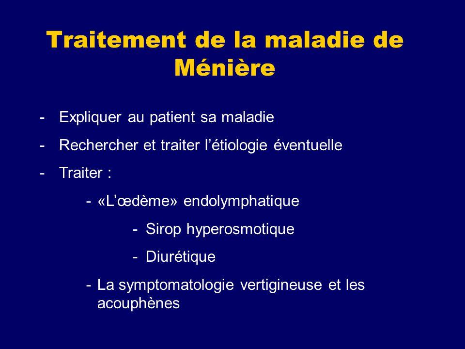 Traitement de la maladie de Ménière -Expliquer au patient sa maladie -Rechercher et traiter létiologie éventuelle -Traiter : -«Lœdème» endolymphatique