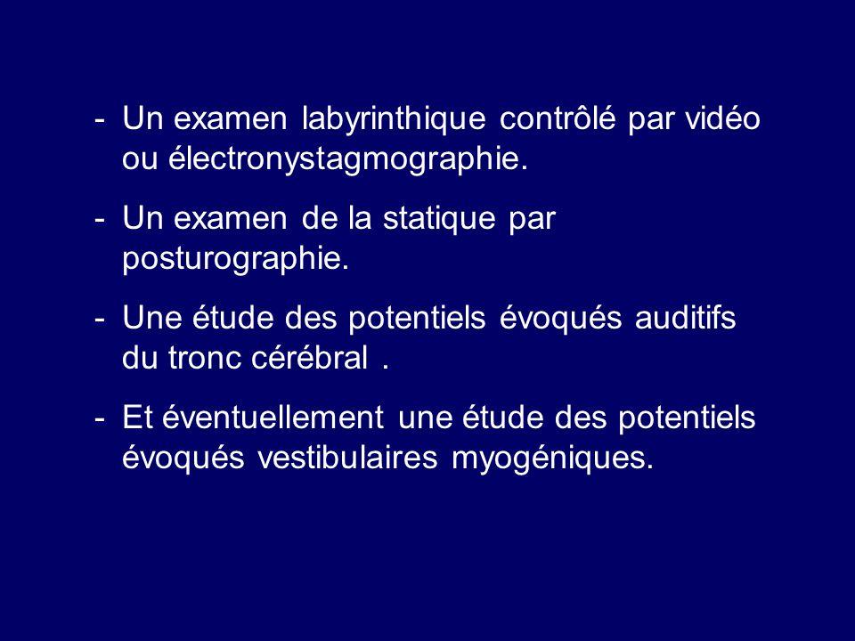 -Un examen labyrinthique contrôlé par vidéo ou électronystagmographie. -Un examen de la statique par posturographie. -Une étude des potentiels évoqués
